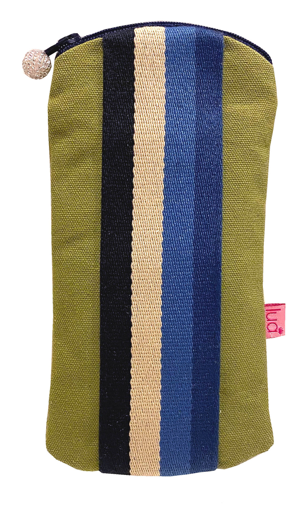 Canvas Stripe Glasses Case - Olive