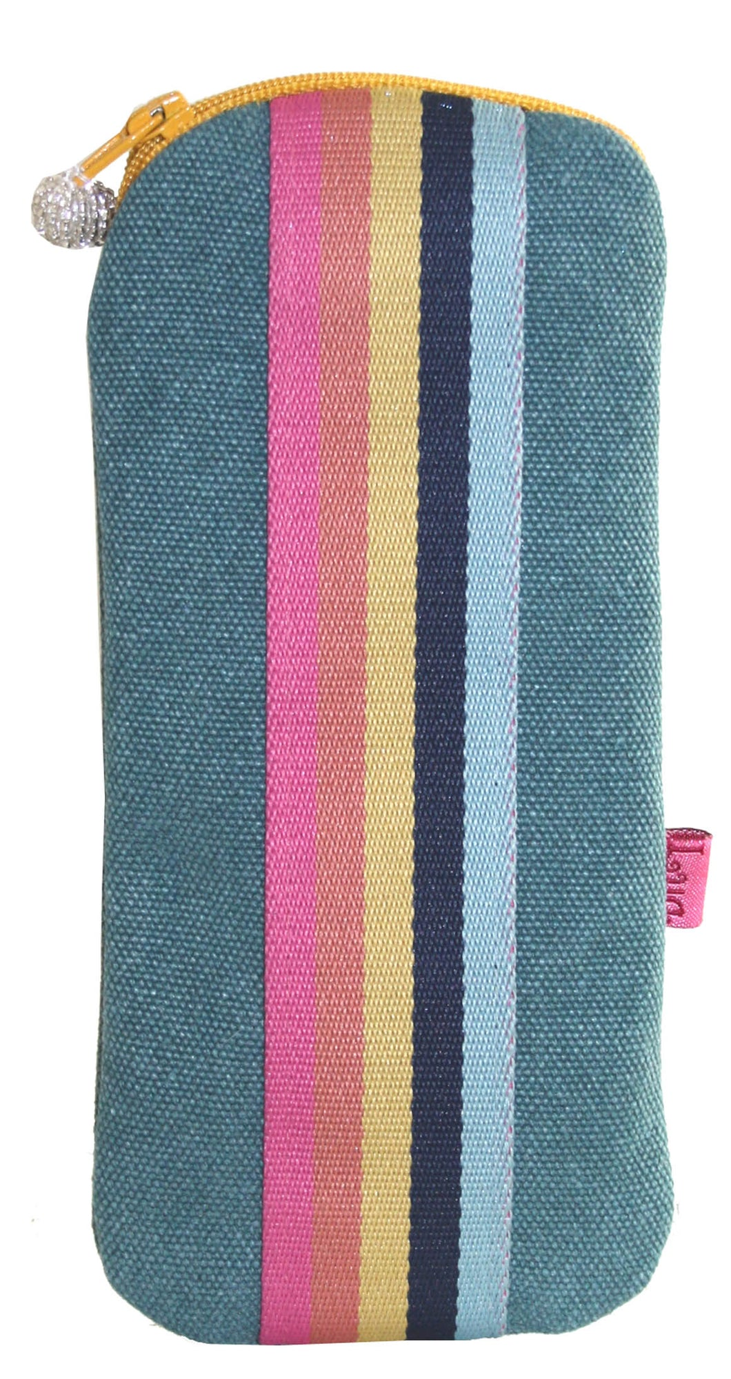 Canvas Stripe Glasses Case - Teal
