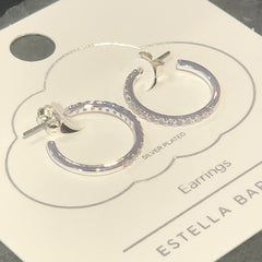 Pave Set Large Hoop Earrings - Silver Plated