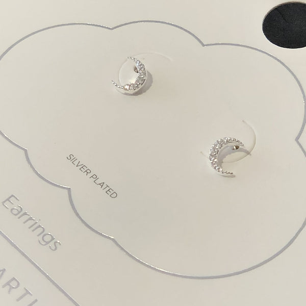 Pave Set White CZ Moon Earrings - Silver Plated