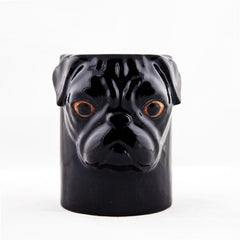 Quail Pug Pencil Pot in Black