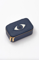 Navy Mini Jewellery Box with Lucky Eye Applique