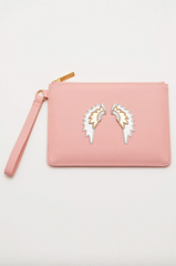 Blush with Wings Applique Pouch