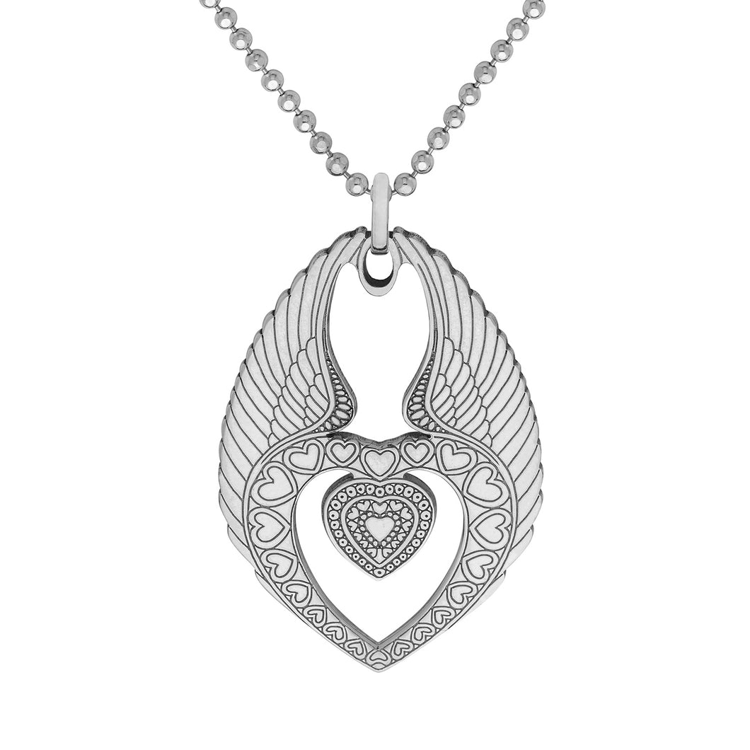 Carter Gore Silver Pendant Winged Heart