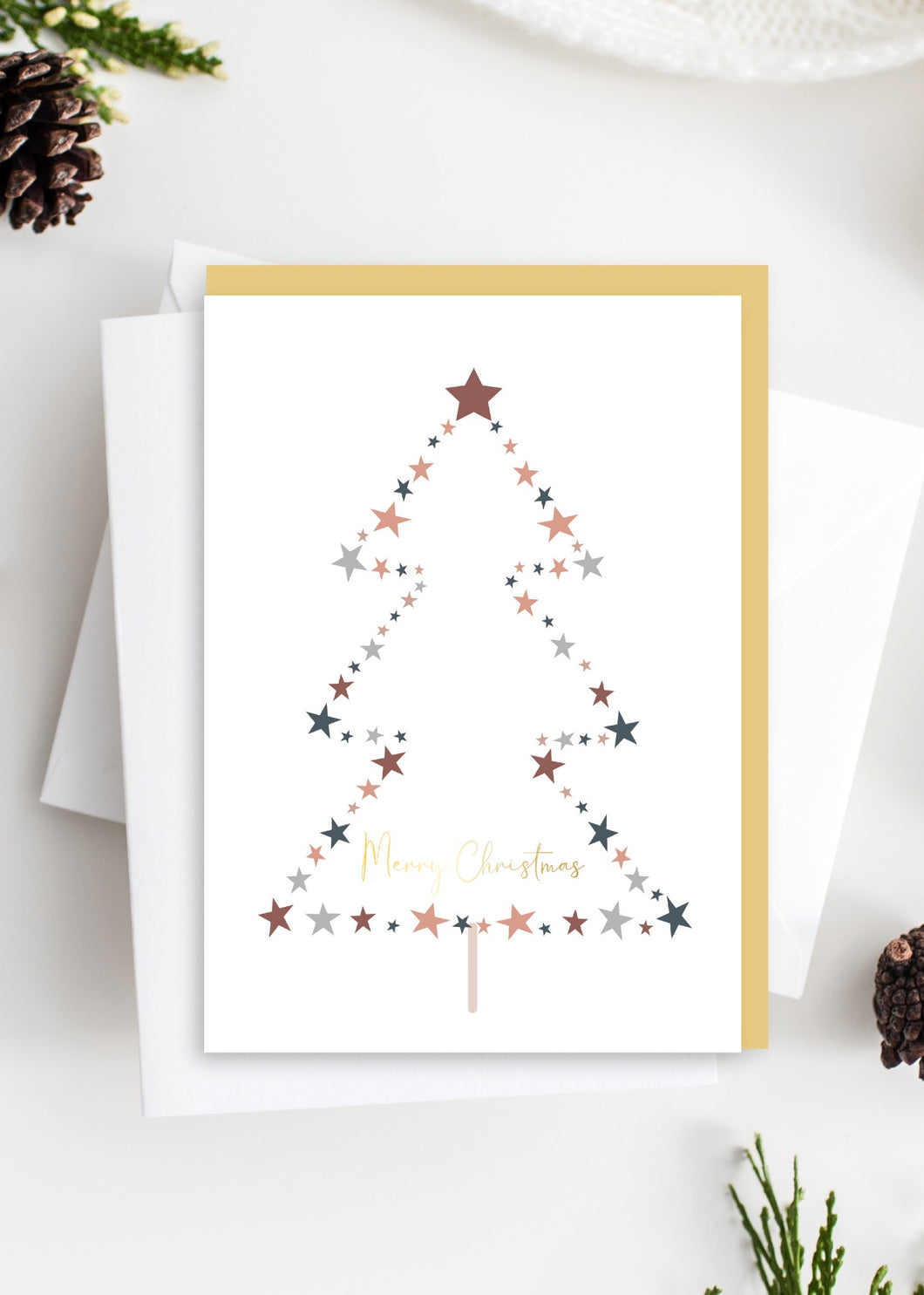 Tres Paper Merry Christmas Tree Card - Gold Foiled