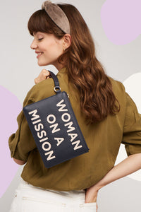 Navy 'Woman on a Mission' Applique Pouch