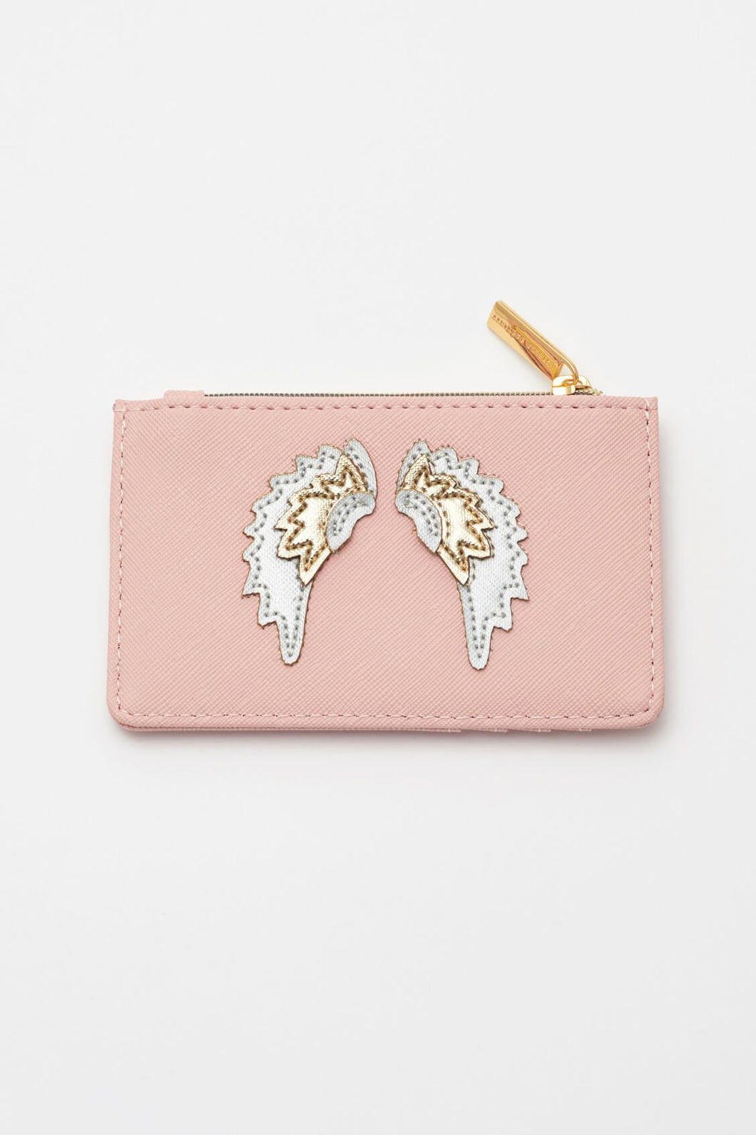 Blush with Iridescent & Gold Wings Applique Card Purse