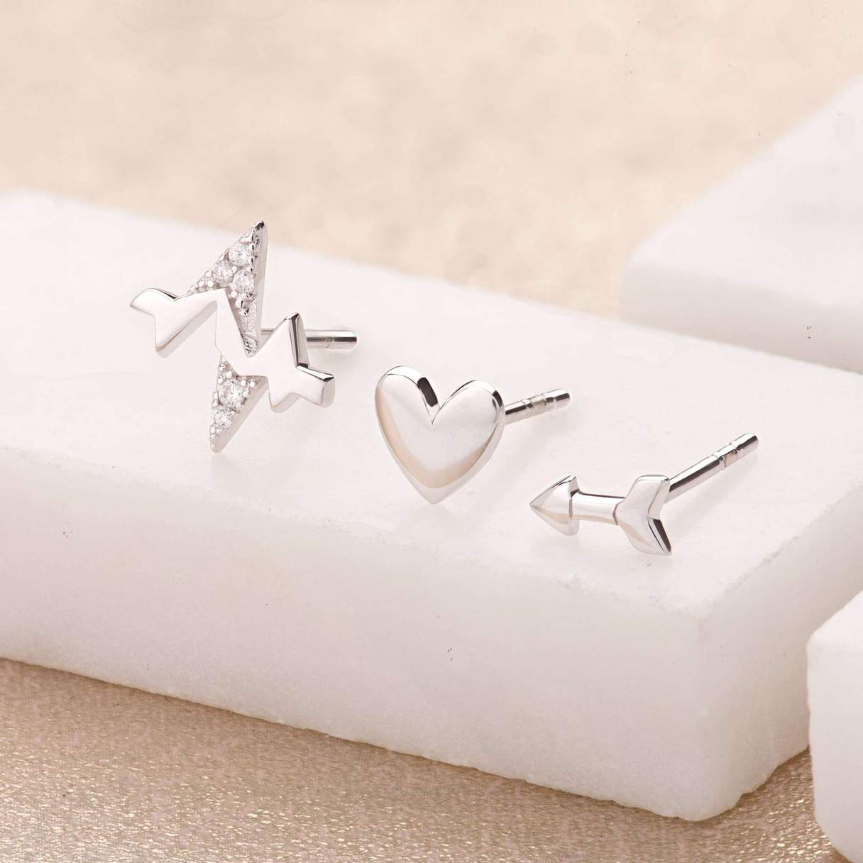 Scream Pretty Heartbeat Set of 3 Single Stud Earrings