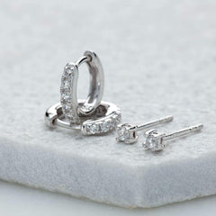 Scream Pretty Sparkle Huggie and Tiny Stud Set of Earrings