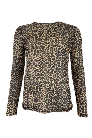 Black Colour Annie Mesh Animal Print T Shirt - Brown Leo