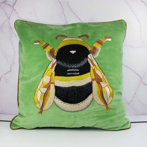 My Doris Pale Green Velvet Bee Cushion