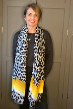 Load image into Gallery viewer, Leopard Stripe Scarf - Grey/Yellow PRE-ORDER