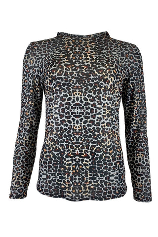 Black Colour Annie Mesh Animal Print T Shirt - Blue Leo