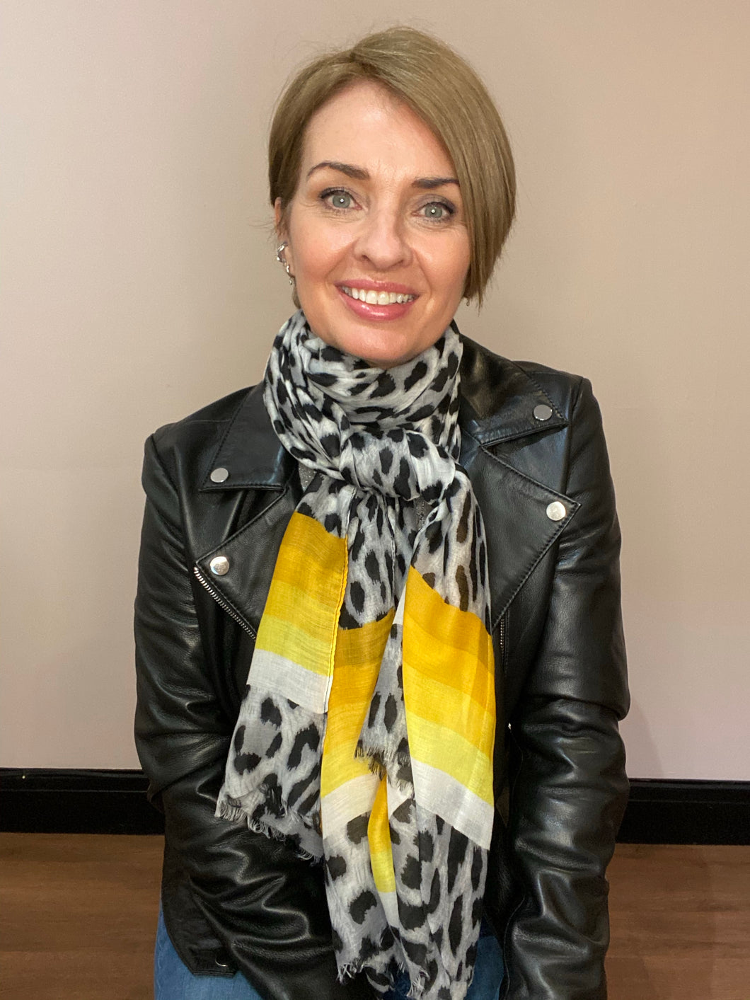 Leopard Stripe Scarf - Grey/Yellow