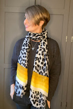 Load image into Gallery viewer, Leopard Stripe Scarf - Grey/Yellow