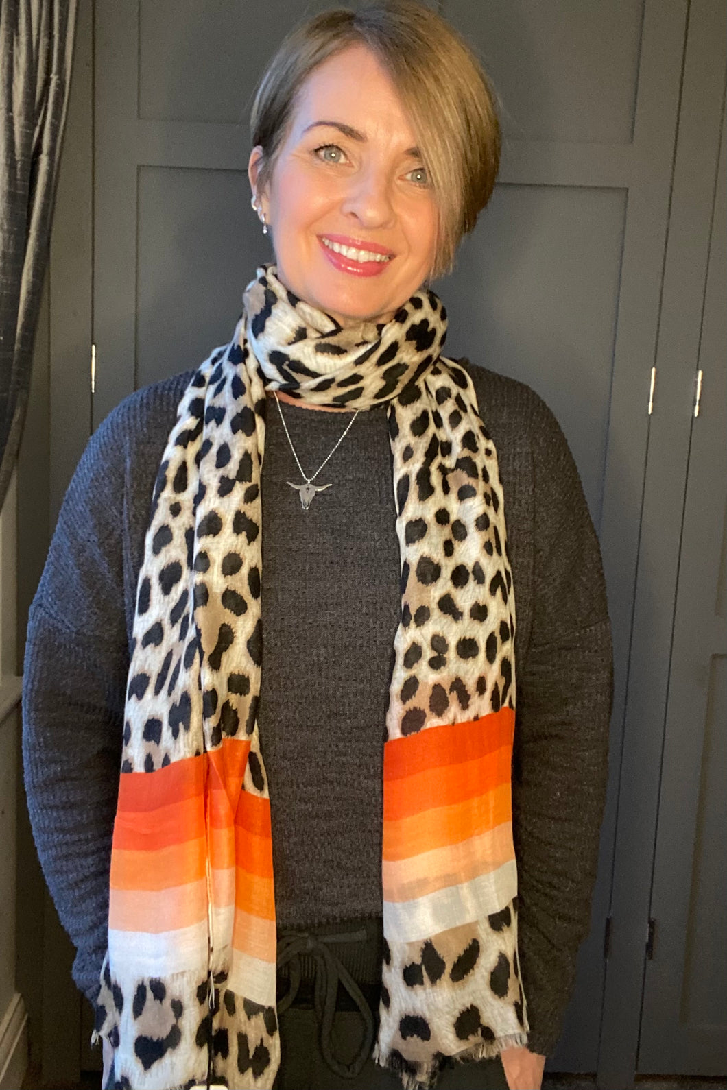 Leopard Stripe Scarf - Brown/Orange
