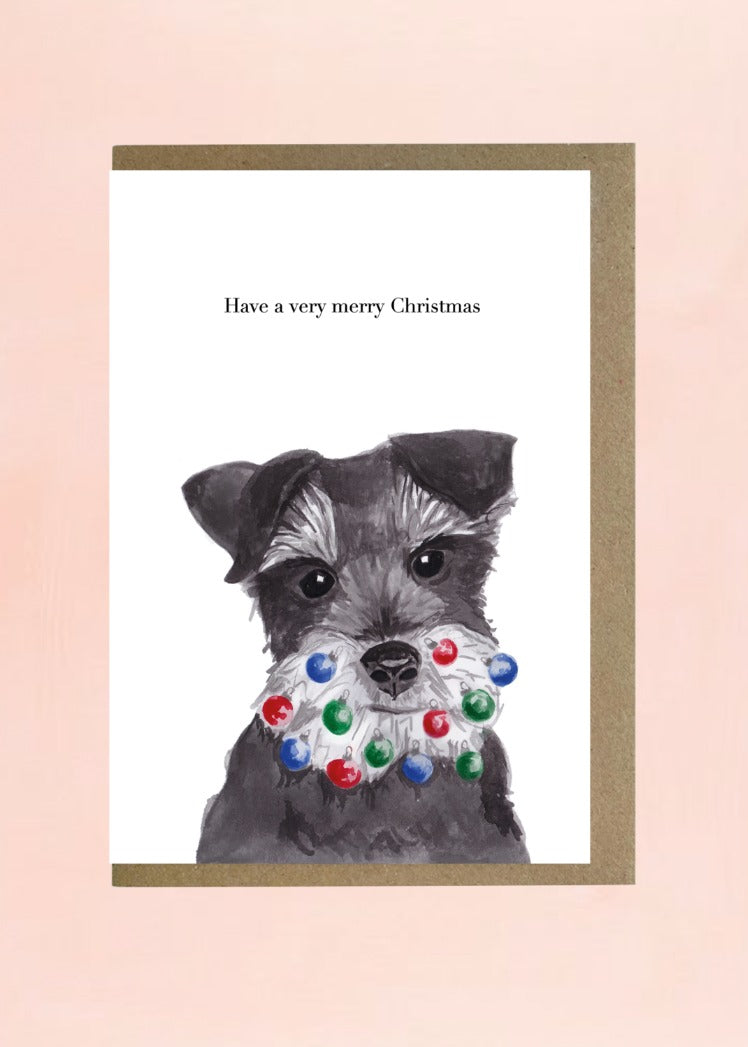 Lil Wabbit Schnauzer Christmas Card