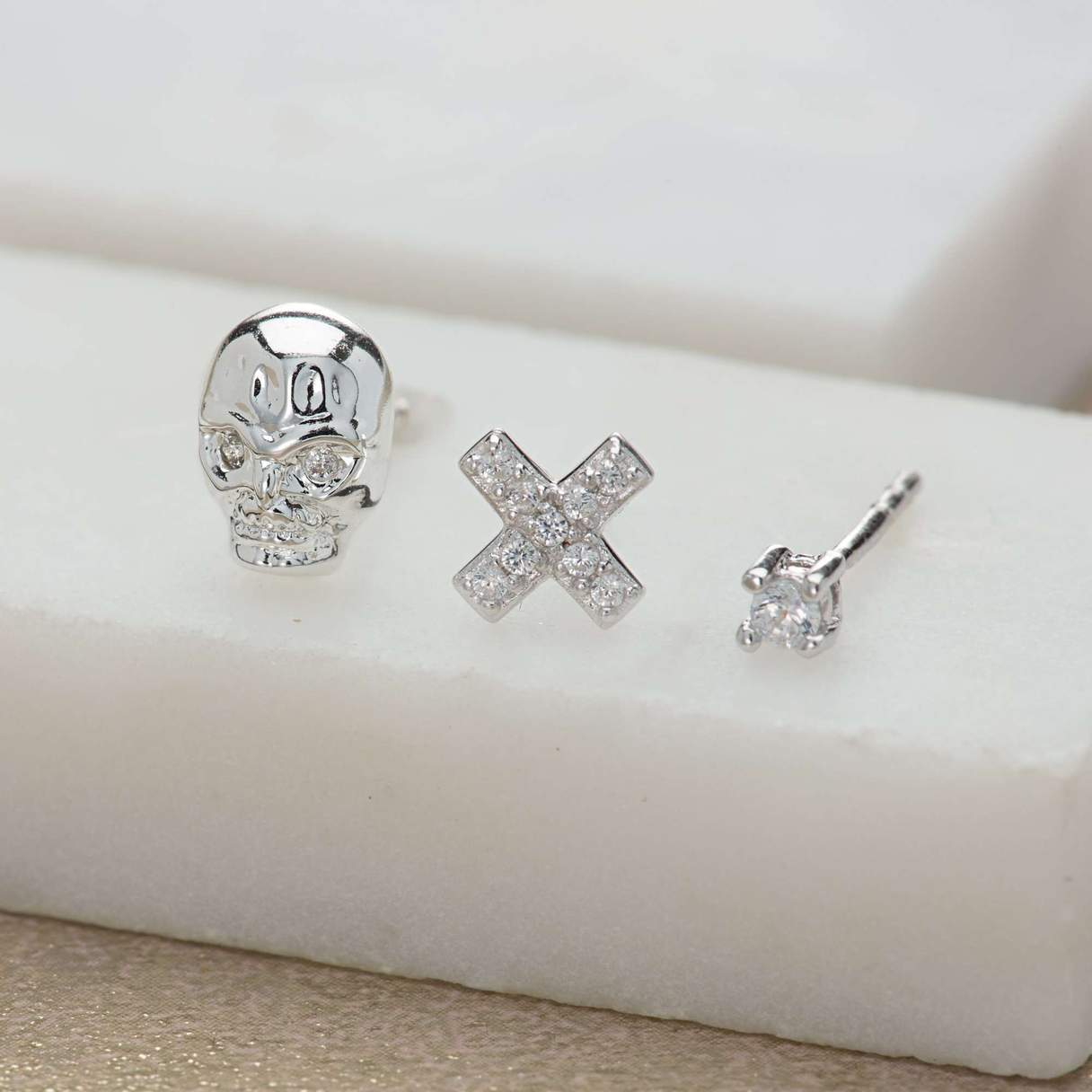 Scream Pretty Skull and Cross Set of 3 Single Stud Earrings