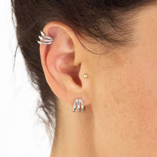 Load image into Gallery viewer, Scream Pretty Triple Split Huggie Stud Earrings