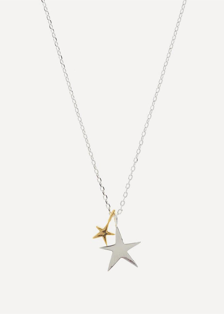 Estella Bartlett Two Tone Double Star Necklace (Silver Plated)