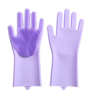 Magic Silicone Gloves with Wash Scrubber Non-slip Magic Latex Gloves for  Household Cleaning Great for Protecting Hands in Dishwashing Car Washing