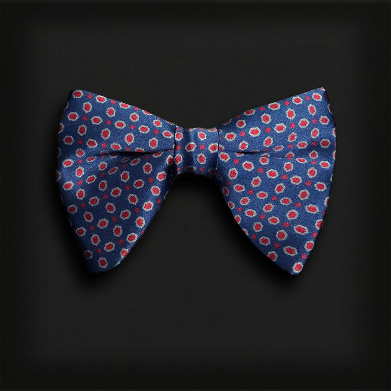 Butterfly Style Bow Tie-Navy/Red polka dots