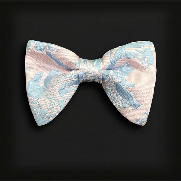 Butterfly Style Bow Tie-Pink/Pale Blue brocade
