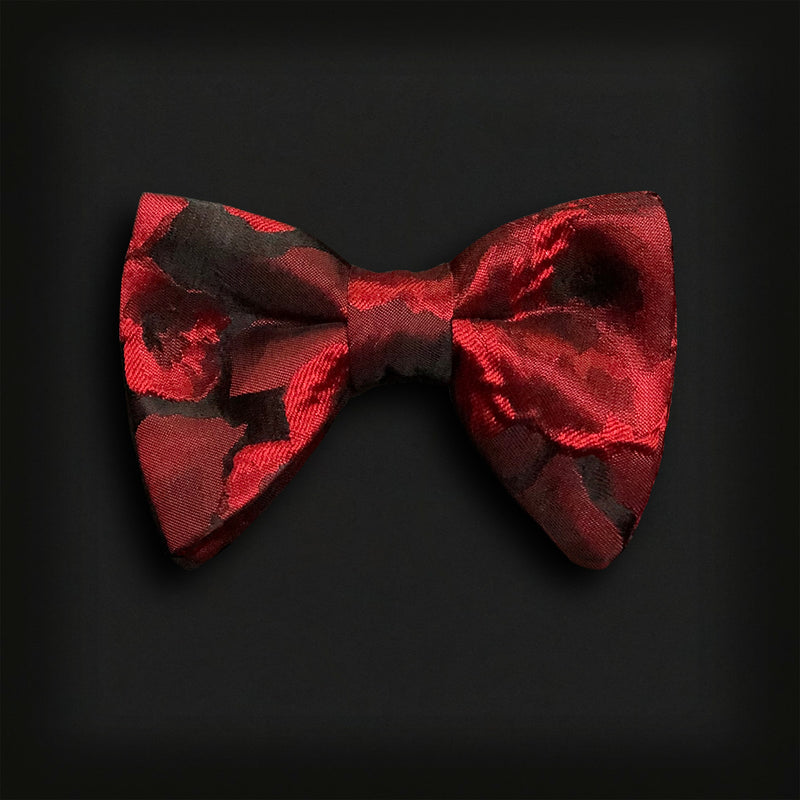 Butterfly Style Bow Tie-Red Brocade