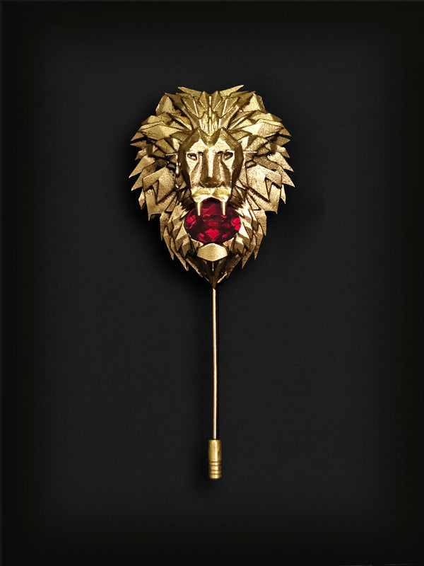 Lion Head Lapel Pin-Gold
