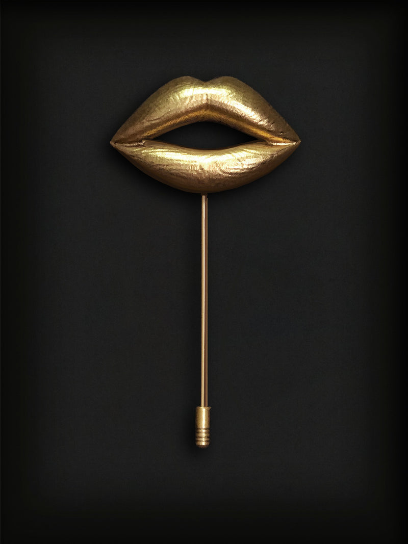 Lips Lapel Pin-Gold