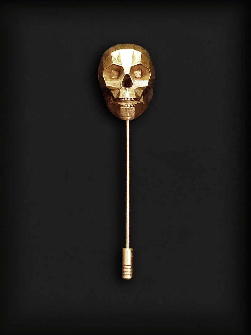 Skull Lapel Pin-Gold