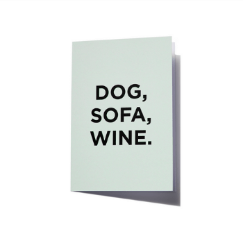 Harlow Harry Greeting Card - Dog, Sofa, Wine