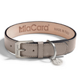 MiaCara Torino Leather Dog Collar Taupe