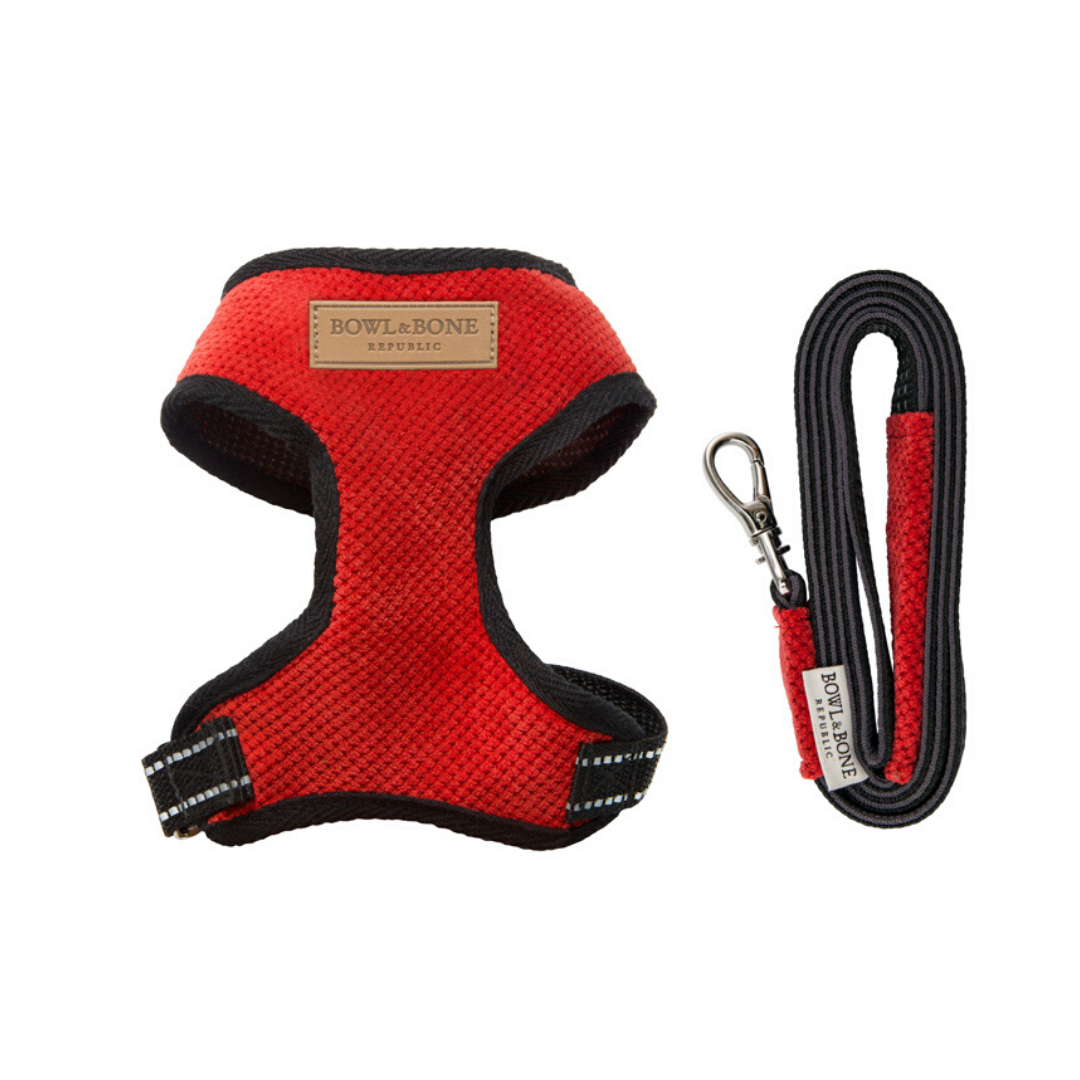 Bowl & Bone Republic Dog Harness Candy With out Lead Red