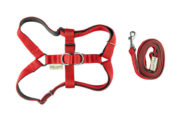 Bowl&Bone Dog Harness Active & Lead Red