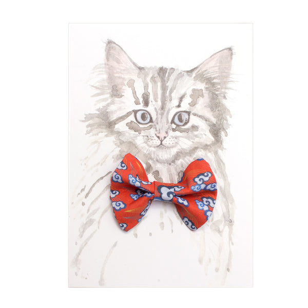 Hiro + Wolf Chinese Clouds Cat Bow Tie Accessory