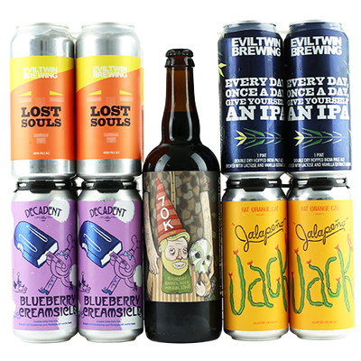 Evil Twin Lost Souls, Decadent Blueberry Creamsicle, Against the Grain 70K, Evil Twin Every Day, Once A Day, Give Yourself An IPA, Fat Orange Cat Jalapeño Jack