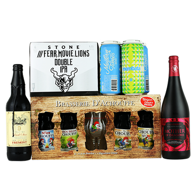 Ommegang Game Of Thrones - Mother Of Dragons, Modern Times Membata, Stone ///Fear.Movie.Lions Double IPA, Brasserie d'Achouffe 4 Variety Pack, Fremont Bourbon Barrel Aged Dark Star 2018