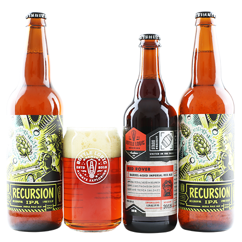Bottle Logic Red Rover / Recursion IPA 3PK With Beaker Glass