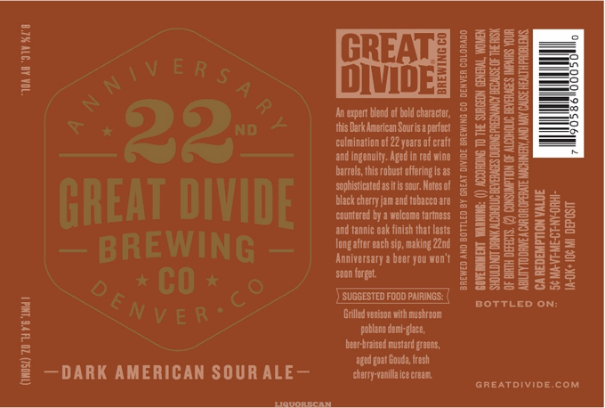 Great Divide 22nd Anniversary Dark American Sour Ale