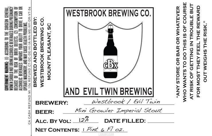 Westbrook / Evil Twin Mini Growler Imperial Stout