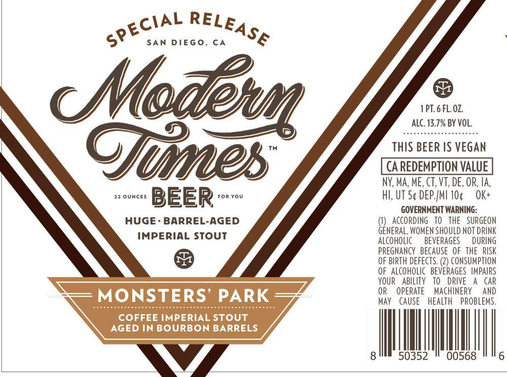 Modern Times Bourbon Barrel Aged Monsters' Park with Coffee / New World Saison 2PK