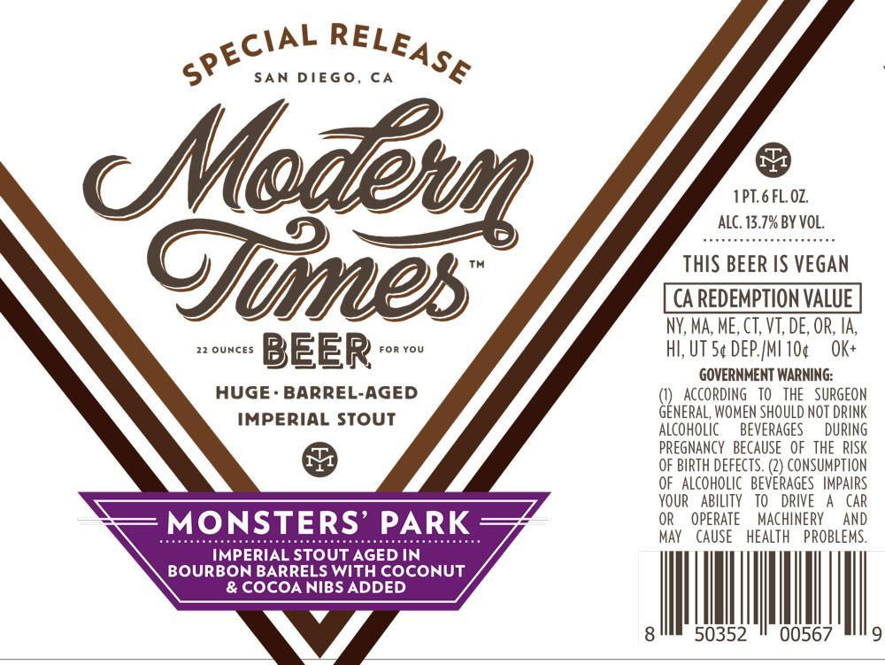 Modern Times Bourbon Barrel Aged Monsters' Park with Coconut & Cocoa Nibs