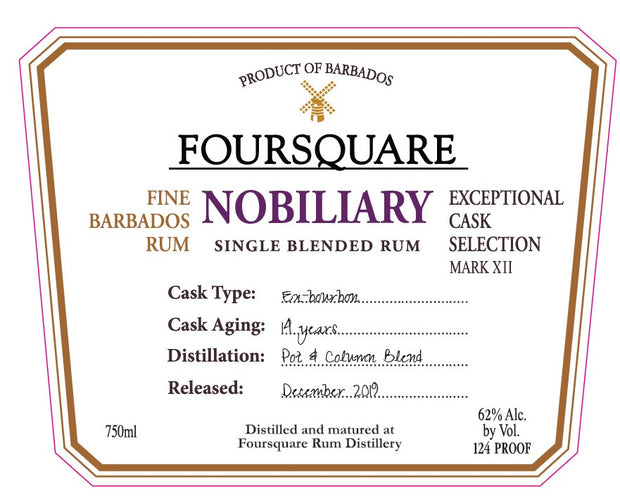 "Foursquare Mark XII ""Nobiliary"" Single Blended Rum"