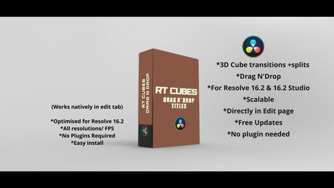 RT 3D Cube Transitions for Resolve 16.2 - RESOLVE TRANSITIONS