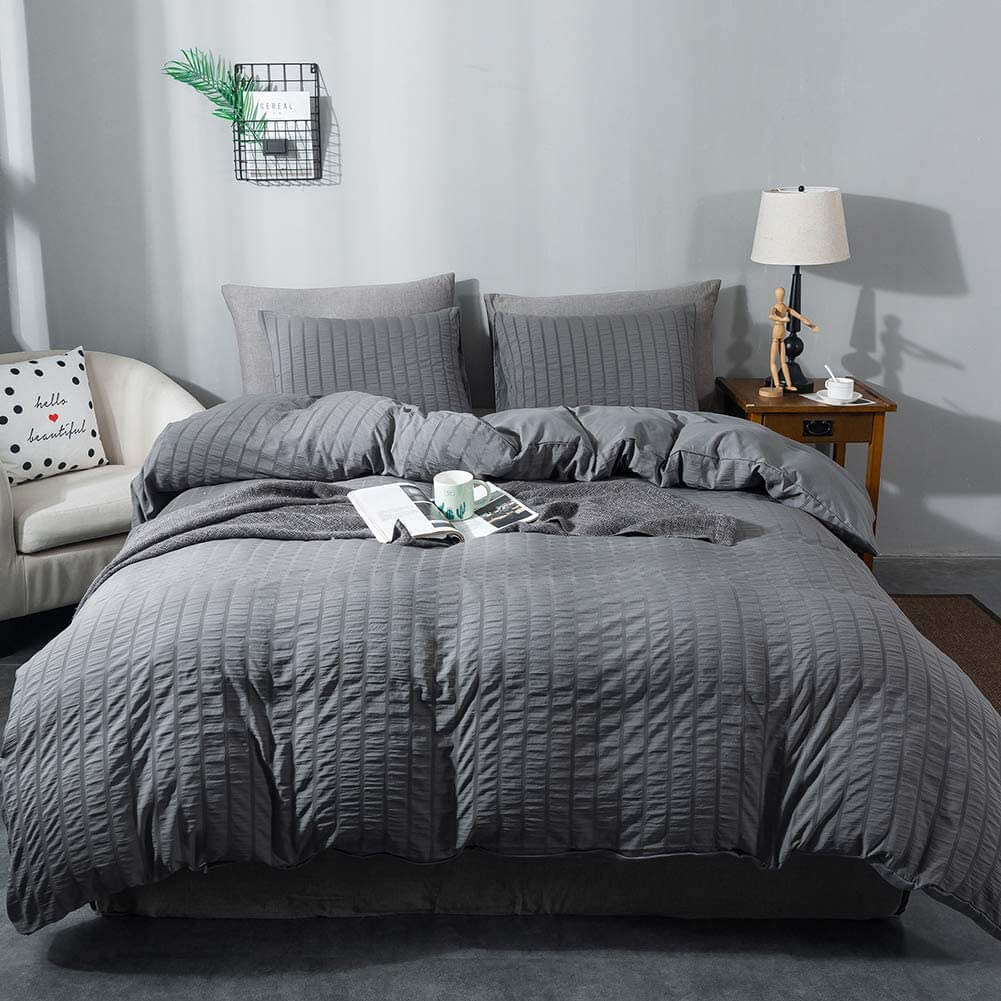Seersucker Duvet Cover Set, 3 Pieces (1 Duvet Cover + 2 Pillow Cases)