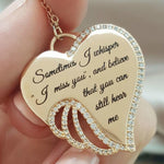 Angel wings heart necklace - Sometimes I Whisper I Miss You