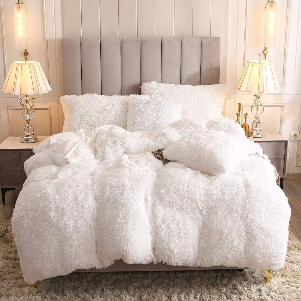 Faux Fur Velvet Plush Fluffy Bedding Duvet Cover Set (1 Duvet Cover, 2 Pillow Shams)