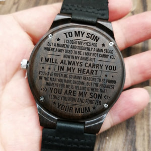 Wooden Watch - To My Son I Love You Forever