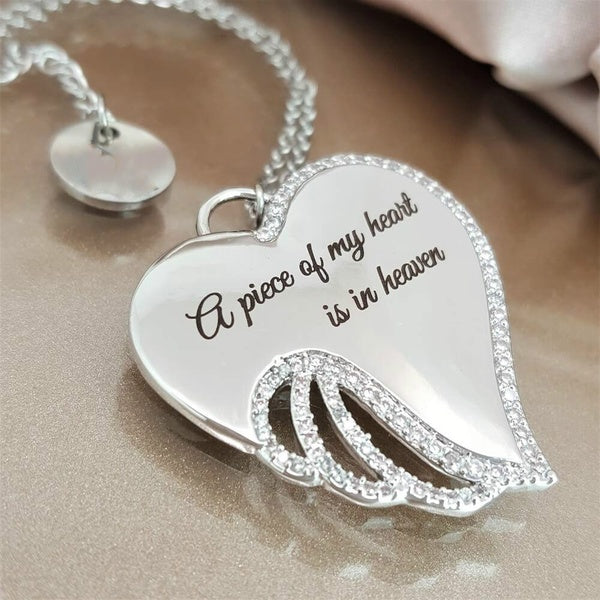 Angel Wings Mourning Necklace - A piece of my heart is in heaven